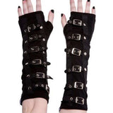 Poizen Buckle Armwarmers Black / Silver | Angel Clothing
