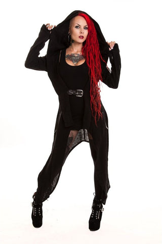 Poizen Industries Gothic Cardigan, Vixxsin Rosetia Cardigan with Hood and Corset Lacing - Angel Clothing