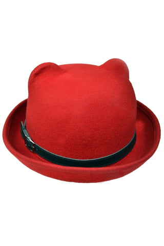 Poizen Industries Gothic Hat, Red Kitty Bowler Hat with Cat Ears - Angel Clothing
