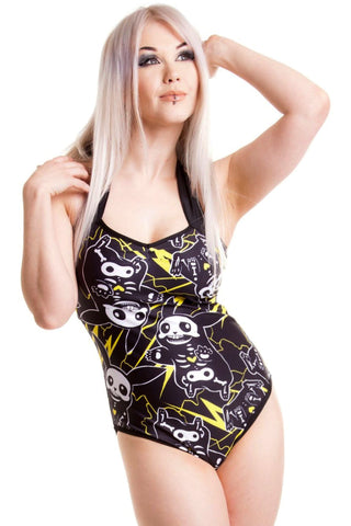 Poizen Industries Gothic Swimwear, Cupcake Cult Thunder Swimsuit - Angel Clothing