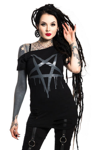 Poizen Industries Gothic Top, Heartless Pentacult Top | Angel Clothing