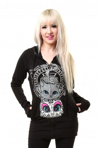 Poizen Industries Hoodie, Cupcake Cult Yes No Cat Hood, Gothic Pentagram Back Hoodie - Angel Clothing