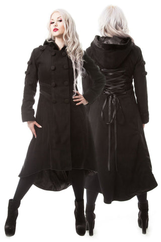 Poizen Industries Midnight Coat - Black 3/4 Length Gothic Coat - Angel Clothing