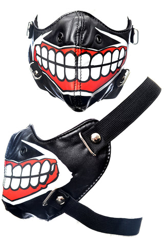 Poizen Industries Muscle Face Mask with Red Mouth Design - Angel Clothing