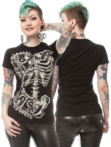 Poizen Industries Vixxsin Bone Corset Tshirt | Angel Clothing