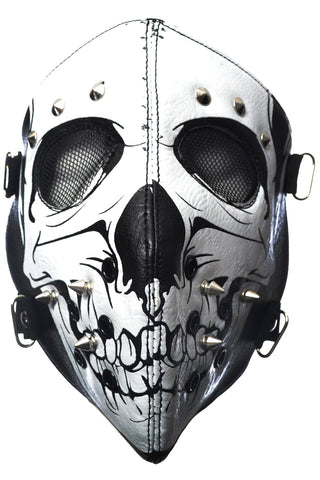 Poizen Industries White Skull Full Face Mask with Skull Motif - Angel Clothing