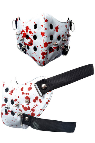 Poizen Industries White Spike Face Mask with Red Blood Splatter Design | Angel Clothing