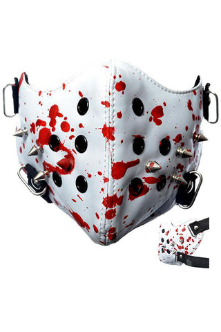 Poizen White Spike Face Mask Blood Splatter | Angel Clothing