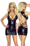 Provocative PR6080 Wet look Dress Black | Angel Clothing