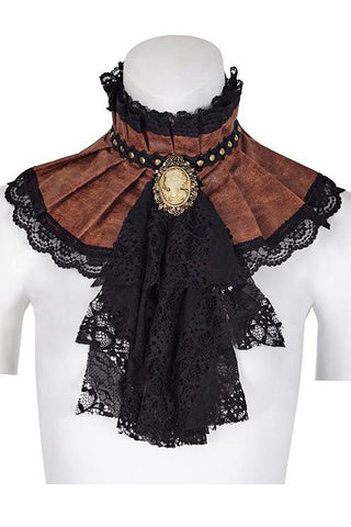 Punk Rave Adora Steampunk Choker and Brooch Brown | Angel Clothing