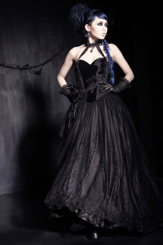 Punk Rave Gown, Stunning Gothic Gown in Black | Angel Clothing