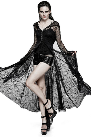 Punk Rave Ladies Long Spiderweb Coat, Tarantula Top Y-732 | Angel Clothing