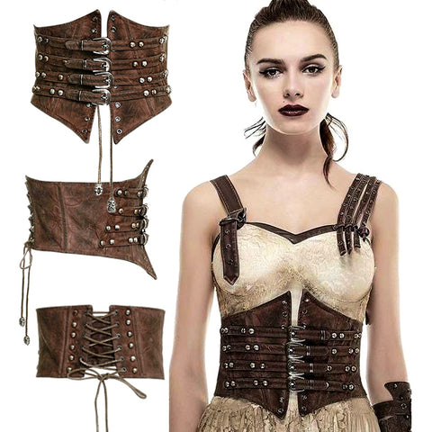 Punk Rave Lucid Belt Waist Cincher Steampunk Brown | Angel Clothing