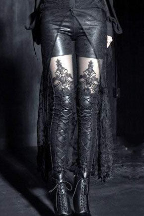 Punk Rave Macbeth Leggings, Black Gothic Embossed | Angel Clothing
