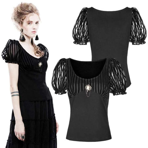 Punk Rave Romantic Puffy Sleeves Top | Angel Clothing