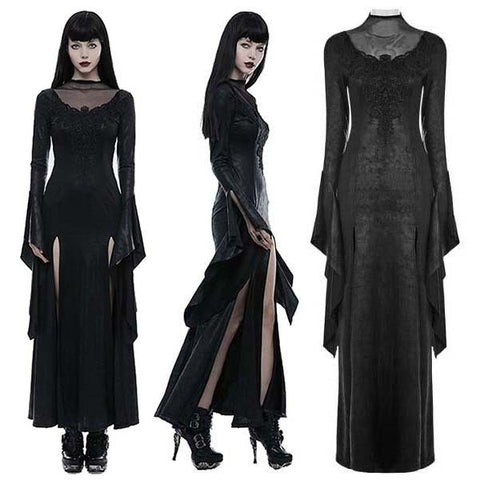 Punk Rave Romantic Goth Long Side Slits Maxi Dress Q-349 | Angel Clothing