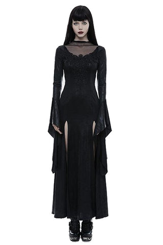 Punk Rave Romantic Goth Long Side Slits Maxi Dress Q-349 - Angel Clothing