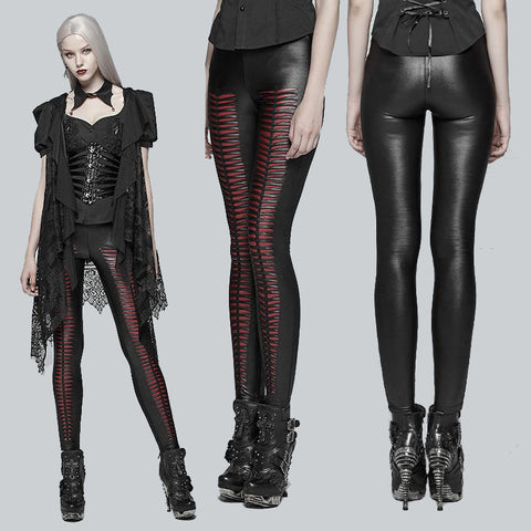 Punk Rave She Devil Leggings Red WK-342 | Angel Clothing