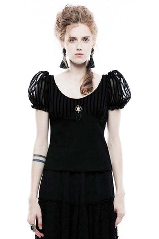 Punk Rave Stripy Gothic Romantic Puffy Sleeves Top - Angel Clothing