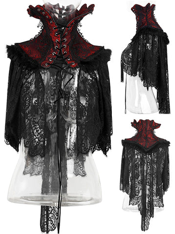 Punk Rave Ventrue Gothic Neck Corset Cape Black Red Y-586 | Angel Clothing