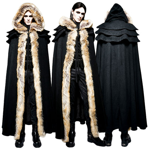Punk Rave Winterfell Cloak Black Mens | Angel Clothing