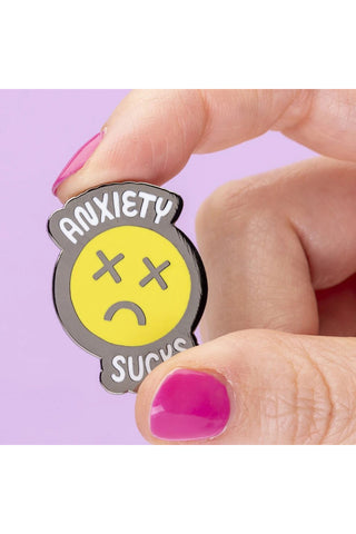Punky Pins Anxiety Sucks Enamel Pin | Angel Clothing