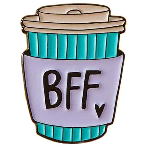 Punky Pins BFF Coffee Cup Enamel Pin - Angel Clothing