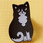 Punky Pins Black and White Cat Enamel Pin | Angel Clothing