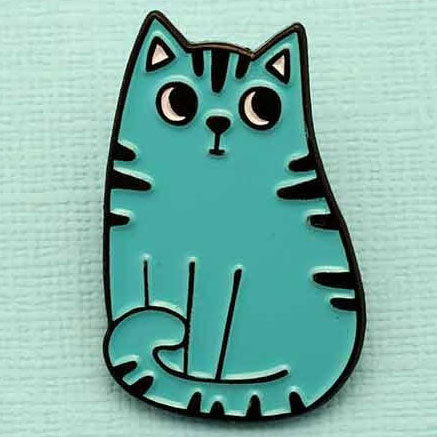 Punky Pins Blue Cat Enamel Pin - Angel Clothing