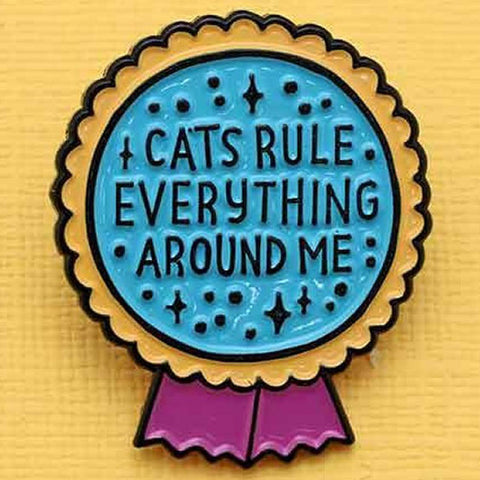 Punky Pins Cat Rule Everything Enamel Pin - Angel Clothing