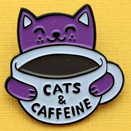 Punky Pins Cats and Caffeine Enamel Pin - Angel Clothing