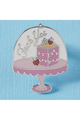 Punky Pins F*ck Yes Cake Stand Enamel Pin | Angel Clothing