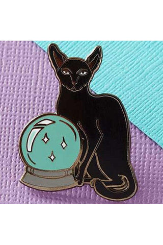 Punky Pins Fortune Teller Cat Enamel Pin | Angel Clothing