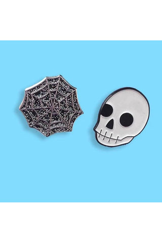 Punky Pins Glitter Spiderweb and Skull Spooky Duo Pin Set | Angel Clothing
