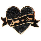 Punky Pins Livin in Sin Glitter Heart Enamel Pin | Angel Clothing