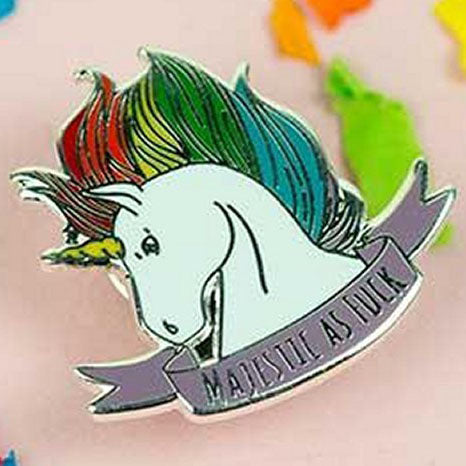 Punky Pins Majestic As F*** Unicorn Enamel Pin - Angel Clothing