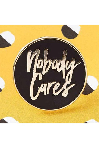Punky Pins Nobody Cares Enamel Pin | Angel Clothing