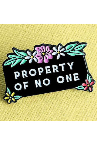 Punky Pins Property of No One Enamel Pin | Angel Clothing