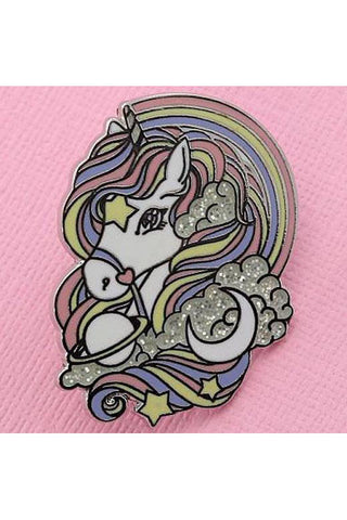 Punky Pins Rainbow Unicorn Enamel Pin with Glitter | Angel Clothing