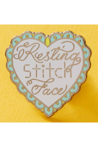Punky Pins Resting Stitch Face Enamel Pin | Angel Clothing