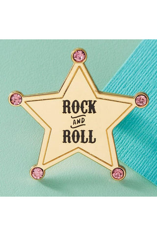 Punky Pins Rock and Roll Enamel Pin with Pink Diamantes | Angel Clothing