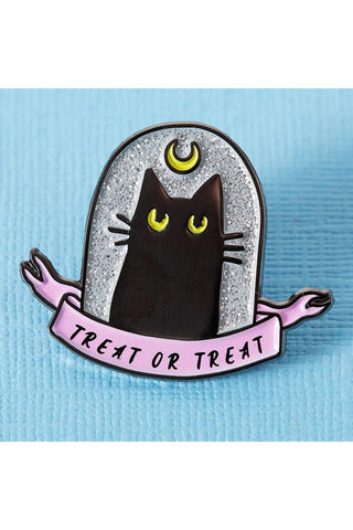 Punky Pins Treat or Treat Black Cat Enamel Pin | Angel Clothing