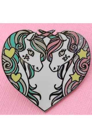 Punky Pins Unicorn Sisters Enamel Pin with Glitter | Angel Clothing