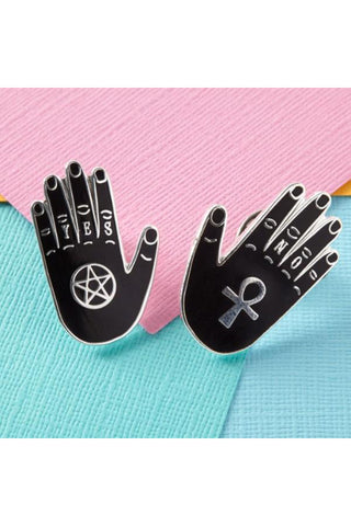 Punky Pins Yes and No Hand Enamel Pin Set | Angel Clothing
