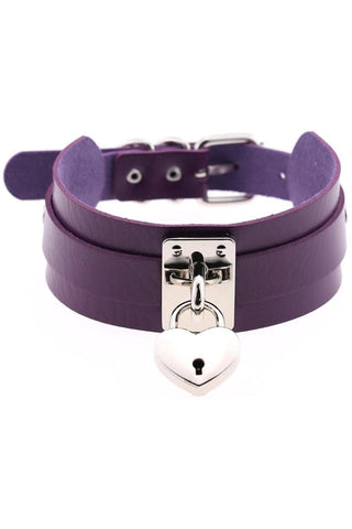 Purple Heart Padlock Collar | Angel Clothing