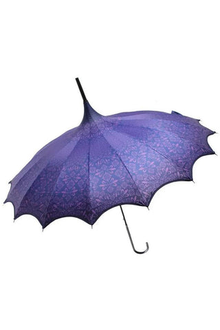 Purple Patterned Pagoda Umbrella / Parasol | Angel Clothing