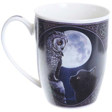 Purrfect Wisdom Owl and Cat Mug by Lisa Parker - Angel Clothing
