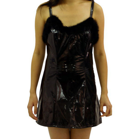 PVC and Faux Fur Mini Dress with Shoulder Straps - Angel Clothing