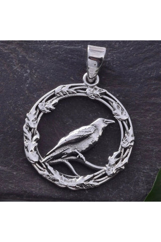 Seventh Sense Raven in Oak Leaf Ring Pendant Silver | Angel Clothing