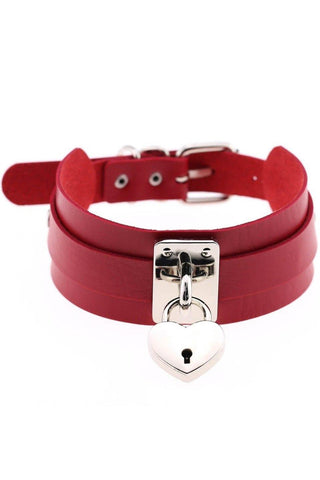 Red Heart Padlock Collar | Angel Clothing